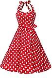 Topdress Women's Vintage Polka Audrey Dress 1950s Halter Retro Cocktail Dress Red Dot L