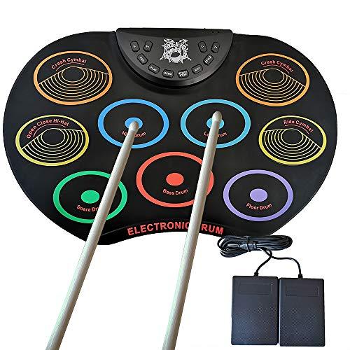 Elisson Digitales Elektronisches Schlagzeug – 9 Pads tragbare elektronische Trommel zum Aufrollen, Silikon, faltbares Übungsinstrument mit Fußpedalen und Drumsticks für Kinder, Anfänger