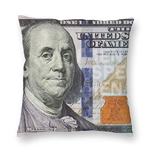 Melis-Online Throw Pillow Cushion Cover 18 X 18 Inch 100 Dollar Bill Square Form Decorative Pillow for Couch Sofa Bedroom Living Room Office Car Set Cushion Case