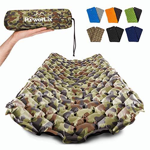 POWERLIX Isomatte Ultraleichte Aufblasbare Isomatte, Ultimate für Camping, Rucksackreisen, Wandern, Airpad, Aufblastasche, Tragetasche, Reparaturset, kompakte & leichte Luftmatratze (Camouflage)