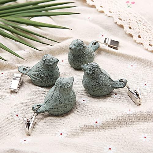 SDFLKAE Juego de pinzas para mesa con diseño de pájaros antiguos de hierro envejecido, clip de peso para colgar en la mesa, para fiestas al aire libre, en el jardín, en fiestas o en el pícnic.