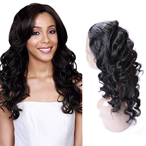 360 Lace Frontal Peruvian Loose Wave Hair 360 Lace Closure Sew In 16 Inch Peruvian Curl Hair Extension Unprocessed Loose Wave Virgin Human Hair Nature Color