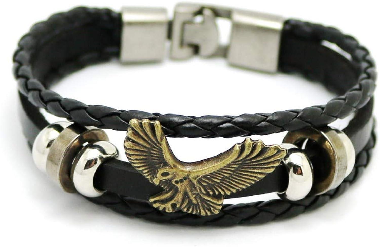 Bracelet Men,Men's Black Bracelet Vintage Jewelry HandWoven Bracelets Fashion Casual Eagle Bracelet Jewelry for Men and Women
