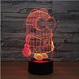 Led 7 Farben Kleine 3D Nachtlichter USB Tischlampe Fußball Wohnkultur Schlafzimmer Minions Schlaf Nachtlicht
