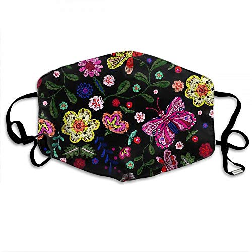 Reusable Fabric Face Mask, Ethnic Embroidery Butterfly and Flowers, Reusable Washable Bandana with 2 Filters, for Men & Women
