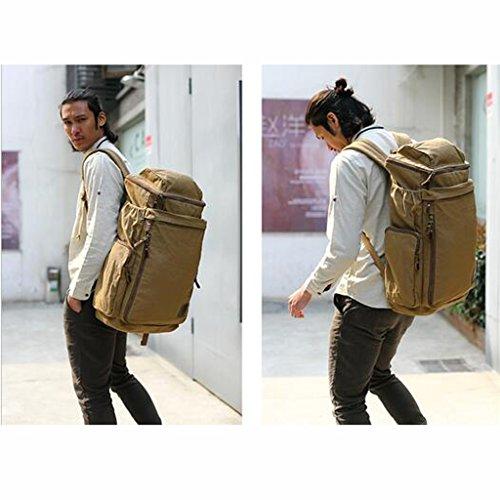 AMOS Bolsa de lona bolso de hombro hombre mochila de ordenador ocio al aire libre deportes bolsa de gran capacidad alpinismo mochila ( Color : Verde oscuro )