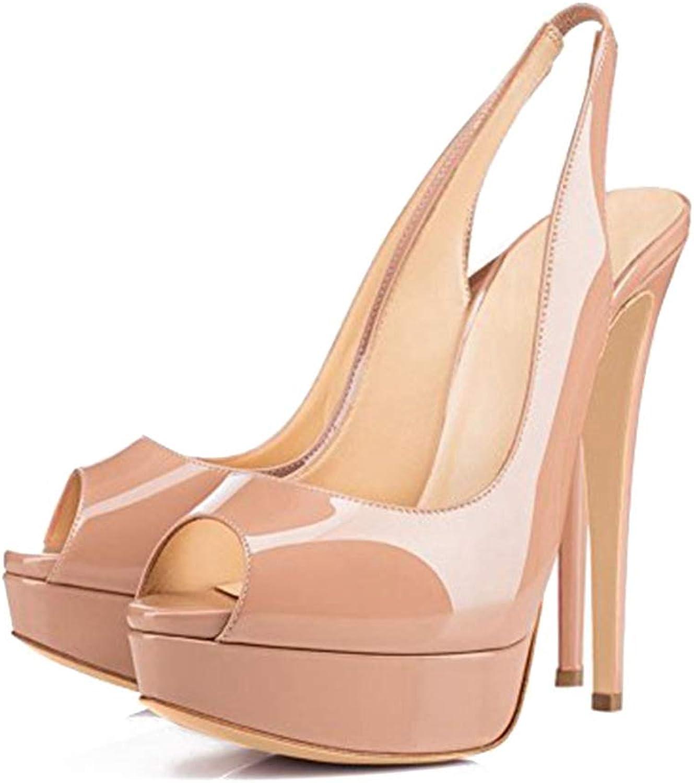 Damen Damen Damen Sommer Schuhe dünne High Heels Sandale Plattform Peep Toe Party einfarbig Sandaletten mit Absatz  e9032a