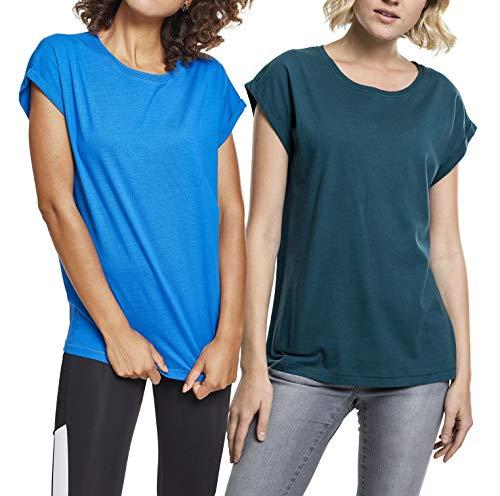 Urban Classics Damen Ladies Extended Shoulder Tee T-Shirt Mehrfarbig (Teal & Brightblue (2-Pack) 02180), Herstellergröße: X-Large (per of 2)