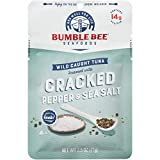 Bumble Bee Cracked Pepper & Sea Salt Seasoned Tuna, 2.5 oz. Pouch with Spoon (Pack of 12), Wild Caught Tuna Fish, Tuna Pouch, High Protein, Keto Food, Keto Snack, Gluten Free, Paleo Food