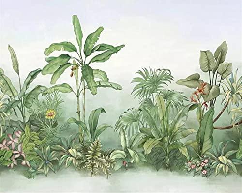 Fotomural Vinilo Para Pared Infantil Hoja de palmera de la planta del sudeste asiático 200x140cm Fondo de La Habitación de Los Niños Muro Fabricación de Murales Poster Photo Wall 3D Fotomurales