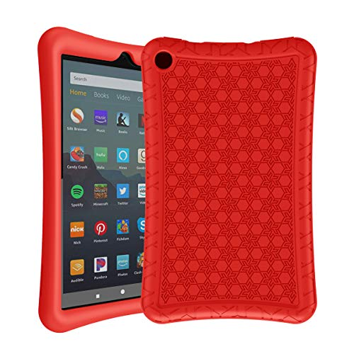 AVAWO Silicone Case for Amazon Fire 7 Tablet with Alexa (7th & 9th Generation, 2017 & 2019 Release - Anti Slip Shockproof Light Weight Protective Cover - Red