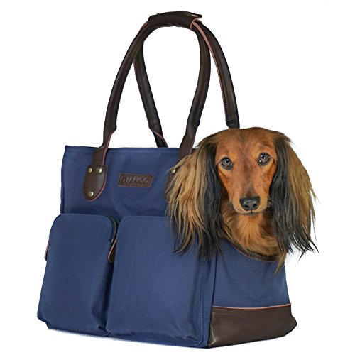 DJANGO Dog Carrier Bag - Waxed Canvas and Leather Soft-Sided Pet Travel Tote with Bag-to-Harness Safety Tether & Secure Zipper Pockets (Medium, Navy Blue)