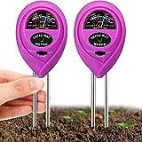 Kit de 2 Medidor de PH de Suelo Medidor de Humedad Probador de Tierra 3 en 1 con Humedad/Luz/pH Herramientas de Jardinería de Granja Césped Jardín para Cuidado de Planta Interior y Exterior (Morado)