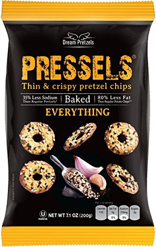 Pressels Baked Pretzel Chips [Everything], Mini Seasoned Pretzels in 3 pack of 7.1 oz, Crunchy Savory Vegan Pretzel Thins