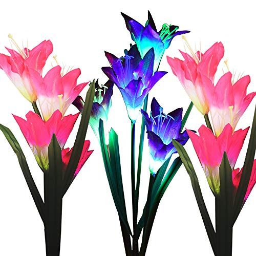 Outdoor Solar Garden Stake Lights, 3 Pack Solar Powered Flower Lights with 12 Lily Flower, Multi-Color Changing LED Solar Landscape Decorative Lights for Garden, Patio, Backyard Solar Flower Lights