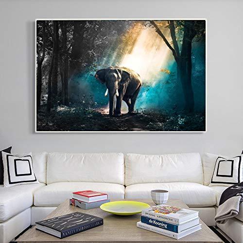Cuadro en lienzo, póster de elefante caminando, arte de pared, imágenes de animales para decoración de sala de estar, carteles de paisaje, pinturas murales de 40x60 CM sin marco