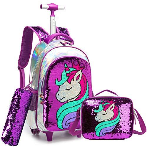 Mochila Unicornio Escolar con Ruedas Chico Genial,Lentejuelas mágicas Estudiantes de Primaria Carros para Mochilas Bolsa de Almuerzo Estuche Escolares Equipaje de Viaje Multifuncional(Púrpura)