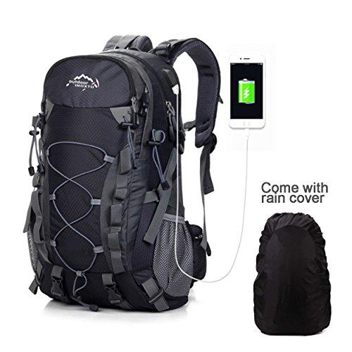 Meisohua Wasserdichter Rucksack 40L Leicht, Erwachsene Wanderrucksack Manner Frauen Outdoorrucksack für Klettern Camping Reiten Reisen Freizeit (USB Schwarz)