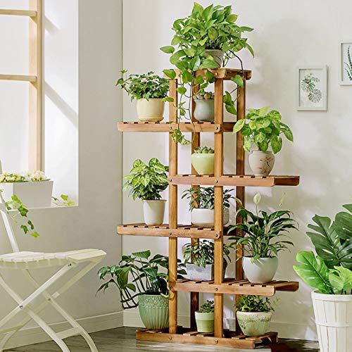 HLQW Support à fleurs en bois, salon vert, bacs à fleurs à plusieurs étages, balcon, salon, présentoir à fleurs, 5 étages. (Color : Carbon roast color)