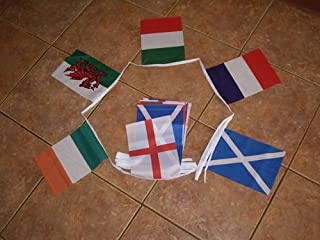 AZ FLAG Rugby 6 Nations Championship 17.95 Meters Bunting Flag 6 Flags 9'' x 6'' - Rugby Cup String Flags 15 x 21 cm