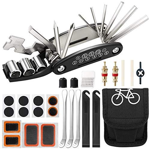 Aiooy Kit de Herramientas para Bicicleta,16 en 1 Reparación de Pinchazos Bicicleta,Herramienta de Reparación Multifunción para Bicicleta,con Kit de Parche y palancas para neumáticos