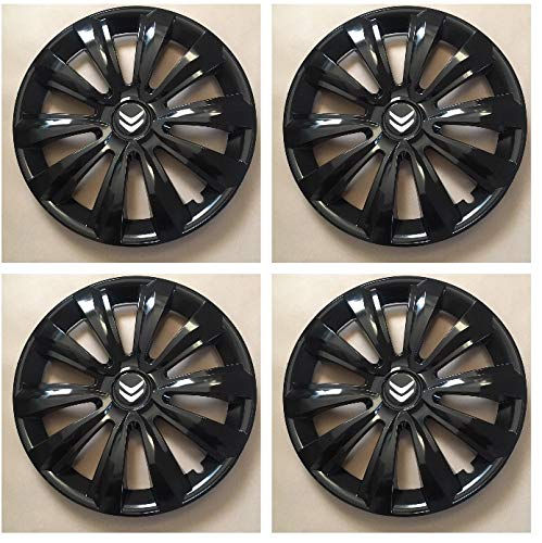 Unit.ec 4X Radkappen 16 Zoll in schwarz für Citroen Inkl Embleme