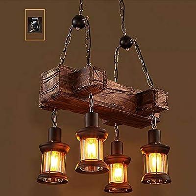 Industrial Vintage Wooden Hanging Pendant Light Retro Loft Lantern Chandelier 4 Lights Suspension Lighting Fixture for Coffee Shop Restaurant (1)