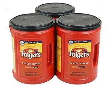 Folgers Classic Roast Coffee Medium Roast 48 Ounce Canister 3 Pack
