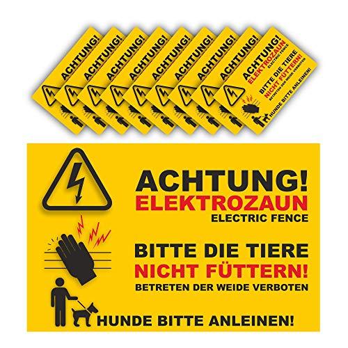 Warnschild Elektrozaun Set 10 Schilder - 20x13cm - Vorgebohrt - auf 3mm Hartschaumplatten