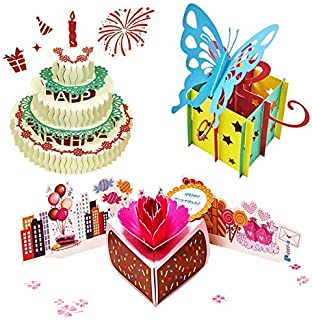3D Pop Up Birthday CardsBirthday Pop Up Greeting Cards Laser Cut Happy Birthday Cards Including Envelopes and Glues Best f...