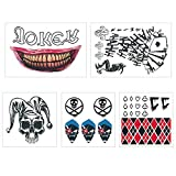 WorldFun 5 Sheets HQ Temporary Tattoos Suicide Squad Skin Safe Tattoos for Halloween Costume for kids