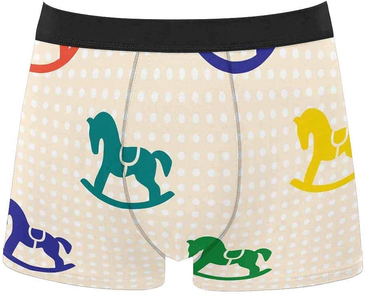 InterestPrint Men's Classic Fit Boxer Briefs Comfort Breathable Underwear Retro Patterns of Love Heart