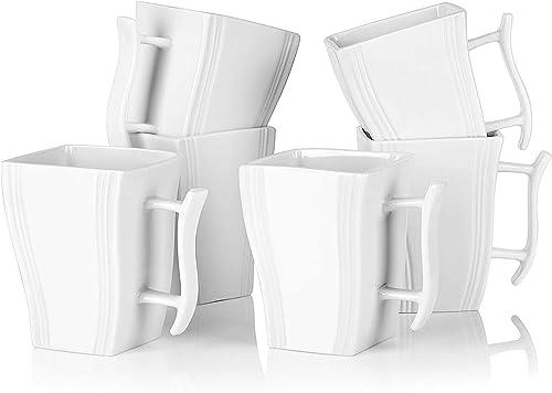 MALACASA Série Flora 6pcs Mugs Tasse à Café Service à Café Thé Tasses en Porcelaine 11,5 * 7,5 * 11cm