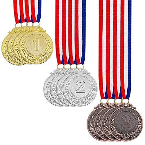 12 Pieces Award Medals 1st 2nd 3rd - 3 Piece Set (Gold, Silver, Bronze) Metal Olympic Style Winner with Neck Ribbon, 2 Inches