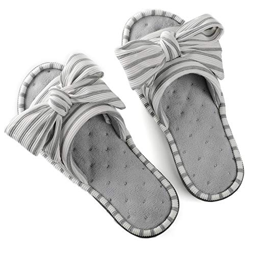 ULTRAIDEAS Women's Memory Foam Open Toe Slide Slippers with Adjustable Strap, Ladies' Slip-on House Shoes Spa Mules Sandals with Indoor Outdoor Anti-Skid Rubber Sole, Light Grey, 9-10