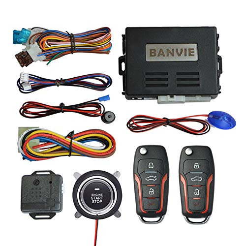 BANVIE ① Car Keyless Entry Security Alarm System + ② Remote Engine Starter + ③ Push to Start Stop Iginition Kit Button