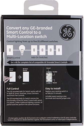 GE Enbrighten Add-On Switch for GE Z-Wave/GE Zigbee Smart Lighting Controls, Works with Alexa, Google Assistant, NOT A STANDALONE SWITCH, Toggle, 12728