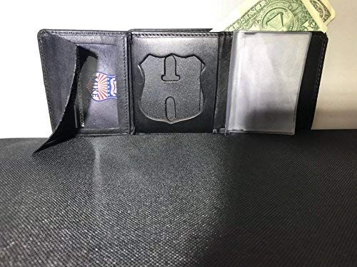 THIN BLUE LINE WALLET BADGE HOLDER FITS NYPD POLICE OFFICER BADGE, CREDIT CARD ID, BILLFOLD AND PICTURES