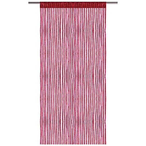 Bestlivings Fadenvorhang mit Stangendurchzug, Gardine in Lurex-Optik, eleganter und stilvoller Dekoartikel in vielen Farben und Größen (rot - Bordeaux / 90x200 cm)