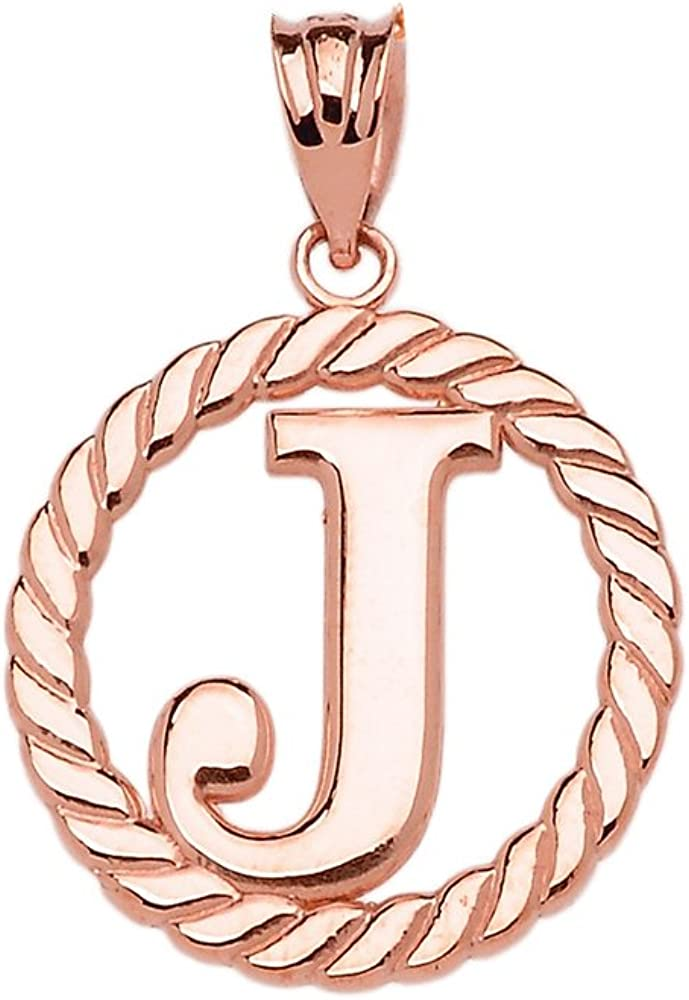 High Polish 10k Rose Gold Roped Circle J Initial Charm Pendant