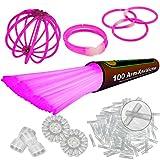 NEON FUN 100 barras luminosas DE MEZCLA set completo incl. 100 x conectores TopFlex, 2 x conectores triples y 2 x conectores circulares, Colores:Rosa
