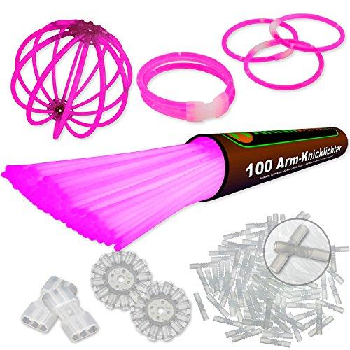 100 Arm Knicklichter Pink | inkl. 100x TopFlex | 2x Dreifach | 2x Ball Verbinder