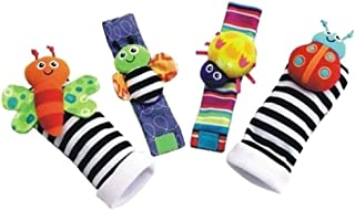 NuTip 1 Set Plush Toy Wrist Rattle Colorful Bee with Foot Socks Cute for Baby Gift