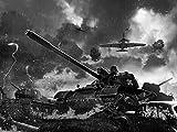 Vlies Tapete Poster Fototapete Panzer Krieg Farbe schwarz weiß, Größe 160 x 120 cm