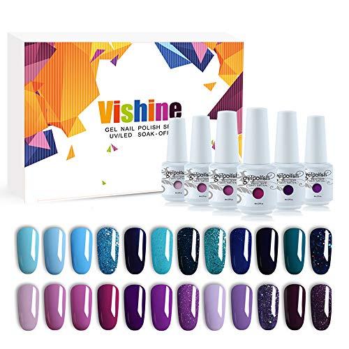 Vishine Lot de 24 Vernis à Ongles Semi permanent Vernis Gels UV LED Soak Off Bleu Violet Pourpre Collection Kit Manicure pour Nail Art 8ml Cadeau idéal