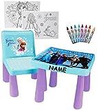 alles-meine.de GmbH Set: Tisch & Stuhl - incl. Malvorlagen + Stifte -  Disny die Eiskönigin - Frozn  - inkl. Name - Maltisch / Zeichentisch / Schreibtisch / Spieltisch - für Ki..