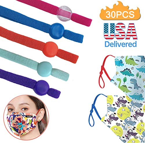 1/5 Inch Colored Elastic Band with Adjustable Buckle High Stretch String Cord Ear Loops for DIY Sewing Crafts(Colored 30PCS)