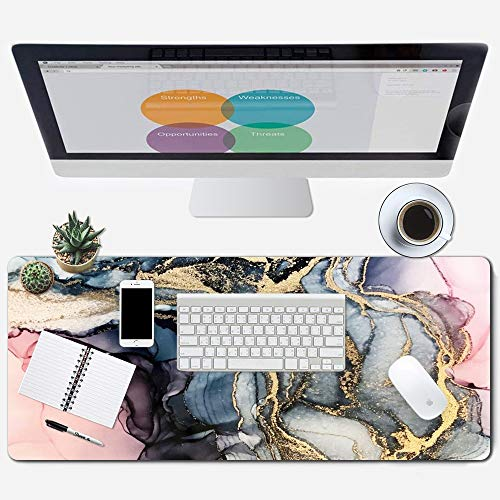 ZYCCW Large Gaming XXL Mouse Pad with Stitched Edge 31.5'x11.8'x0.15' Pink Marble Mouse Mat Customized Extended Gaming Mouse Pad Anti-Slip Rubber Base Ergonomic Mouse Pad for Computer