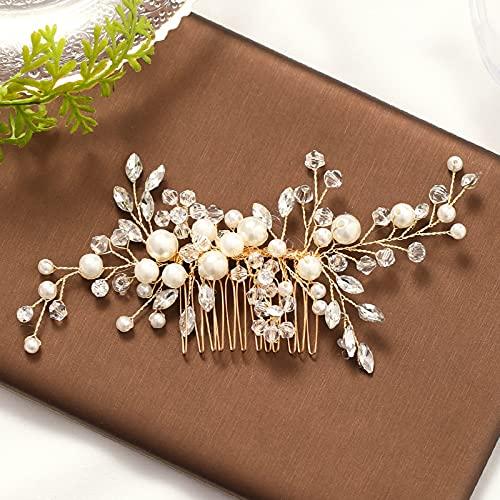 Peine nupcial con perlas doradas, tiara de cristal, peineta, accesorios para el...