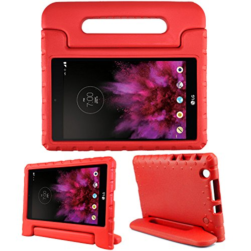 SIMPLEWAY LG G Pad X 8.0 Kids Case Carry Handle Child Stand Holder EVA Foam Shock Proof Case Cover for LG G Pad X 8.0 Inch T-Mobile V521 / AT&T V520 Tablet (Red)